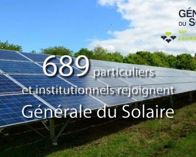 689 particuliers et institutionnels rejoignent GENERALE DU SOLAIRE